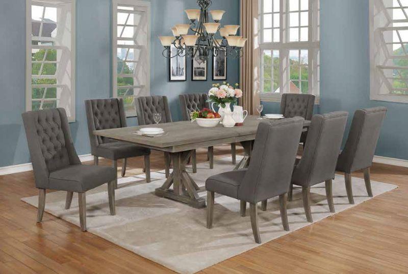 D21-8D26SC 9 pc One allium way trixie antique gray finish wood double pedestal dining table set