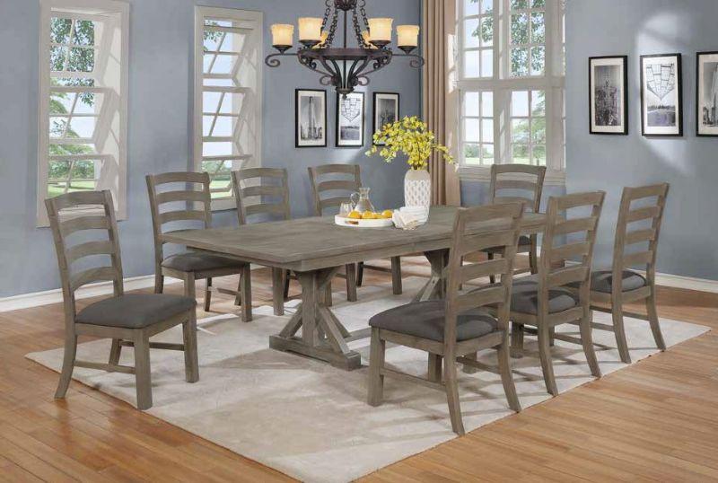 D21-9PC 9 pc One allium way trixie antique gray finish wood double pedestal dining table set