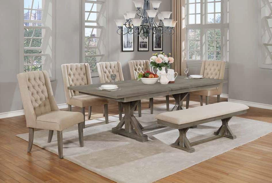 D22-B-5D25SC 7 pc One allium way trixie antique gray finish wood double pedestal dining table set
