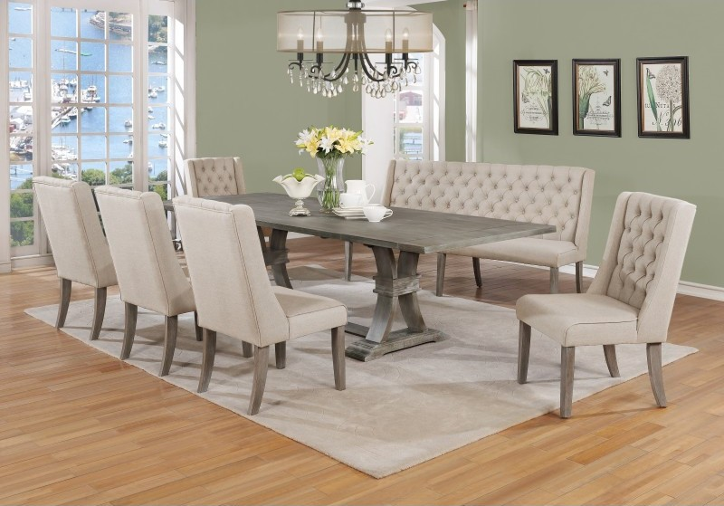 Best Quality D25-7PC 7 pc Sania denville antique rustic grey finish wood dining table set
