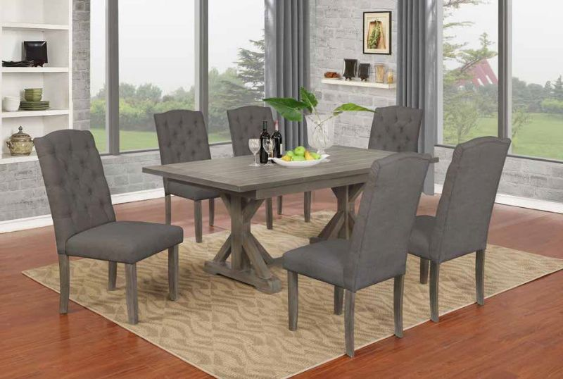 D300-7PC 7 pc Gracie oaks clarissa antique gray finish wood double pedestal dining table set