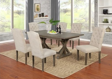 D303-7PC-BG 7 pc Gracie oaks clarissa antique rustic grey finish wood dining table set
