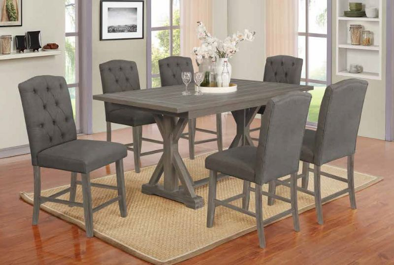 D304-7PC 7 pc Gracie oaks clarissa antique gray finish wood double pedestal counter height dining table set