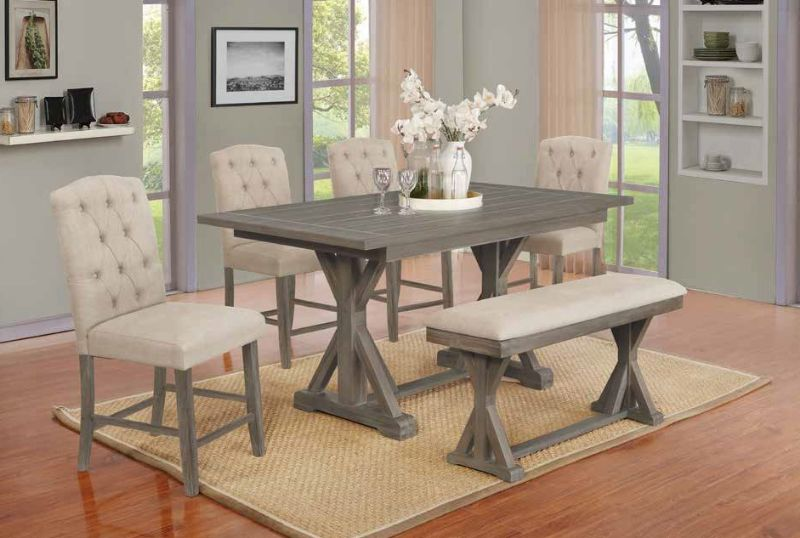 D305-6PC 6 pc Gracie oaks clarissa antique rustic grey finish wood counter height dining table set with bench