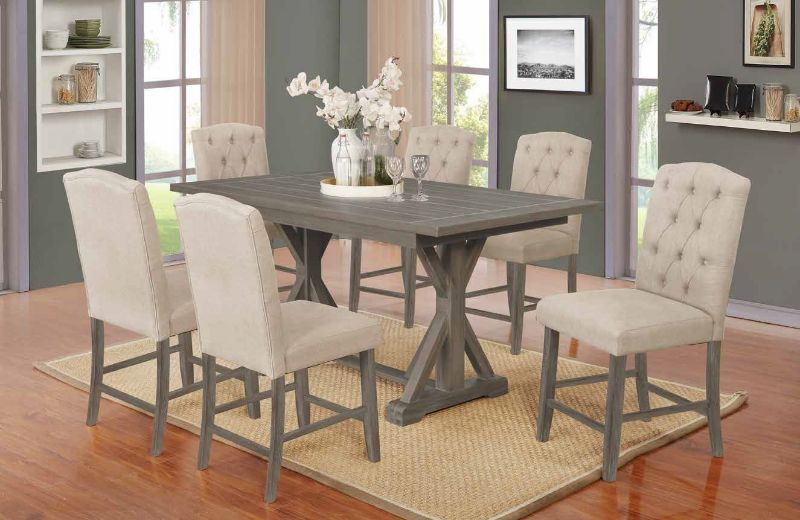 D305-7PC 7 pc Gracie oaks clarissa antique gray finish wood double pedestal counter height dining table set
