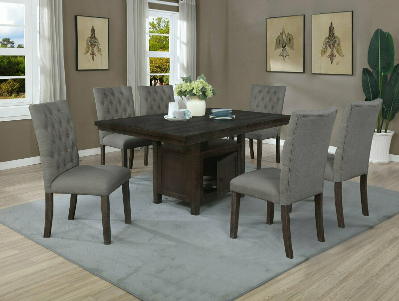 D316-7PC 7 pc Darby home co lona rustic dark oak finish wood storage pedestal dining table set