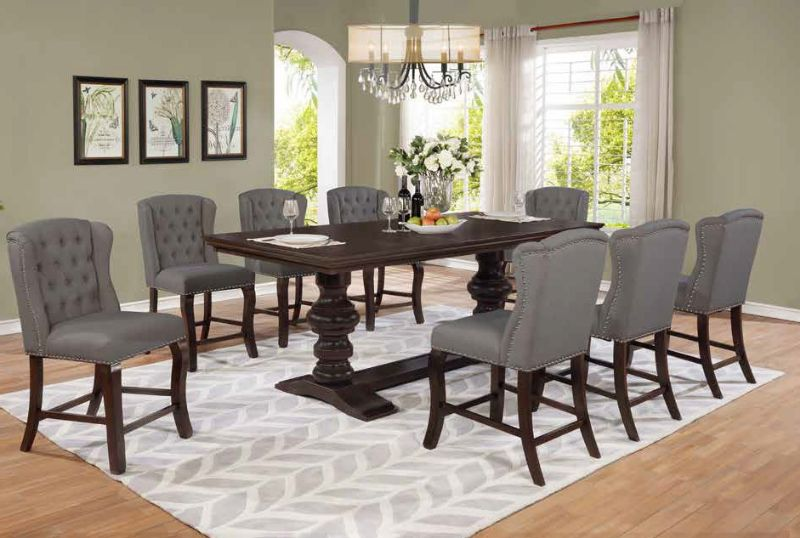 D32-9PC 9 pc Winston porter encore antique espresso finish wood rustic style counter height dining table set