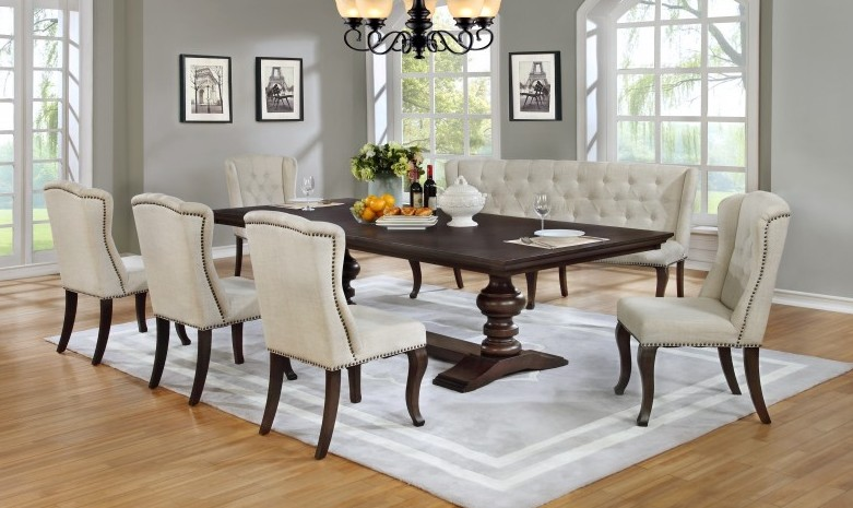 D35-7PC 7 pc Winston porter encore antique espresso finish wood rustic style dining table set tufted chairs and love bench