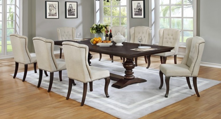 D35-9PC 9 pc Winston porter encore espresso finish wood rustic style dining table set with tufted chairs
