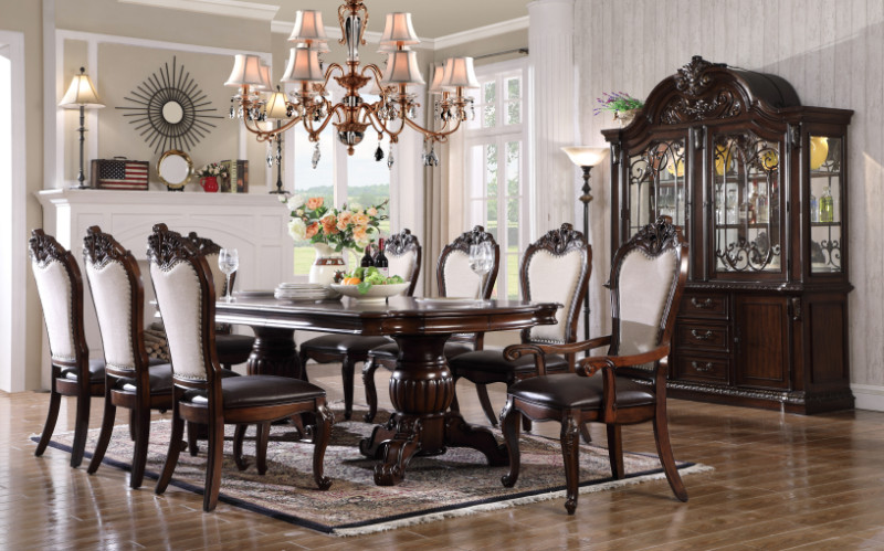 Mc Ferran MF-D3602-7PC 7 pc Darlene cherry finish wood double pedestal dining table set