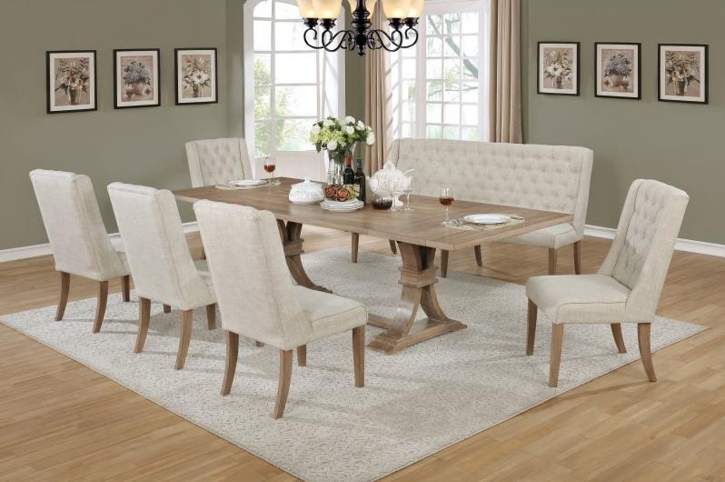 Best Quality D37-7PC 7 pc Gracie oaks denville antique natural finish wood dining table set