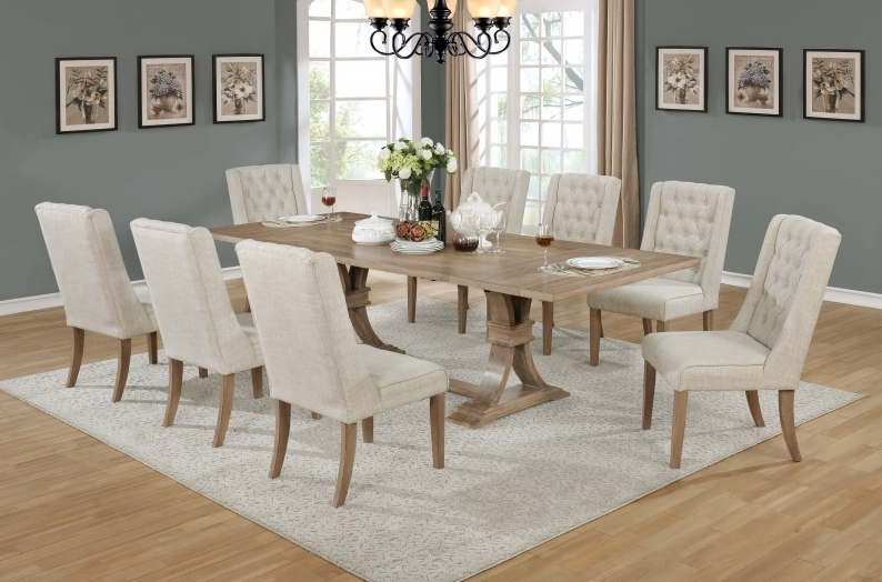BM-D37-9PC 9 pc Sania II collection antique natural finish wood rustic style dining table set with tufted chairs