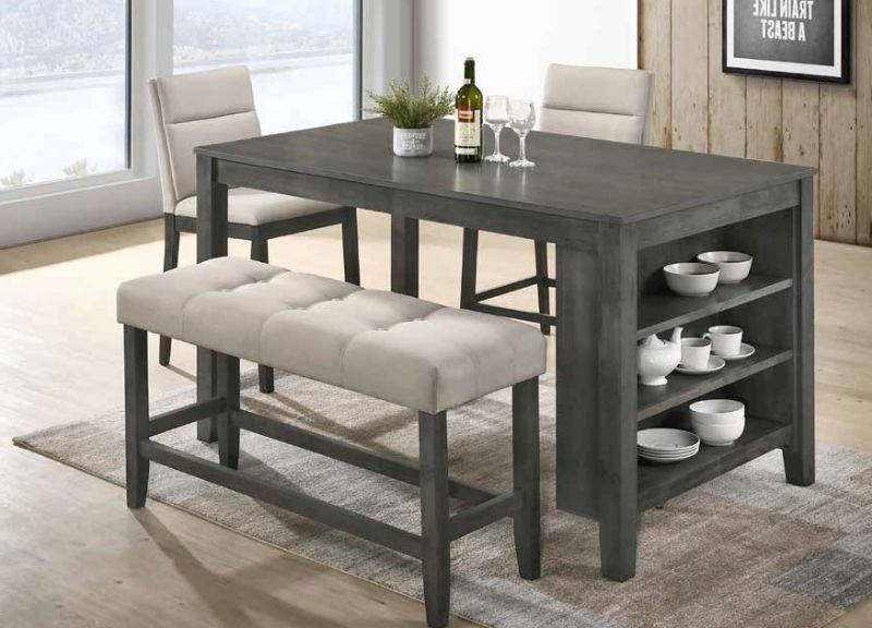 D47-4PC 4 pc Canora grey traci antique gray finish wood counter height dining table set
