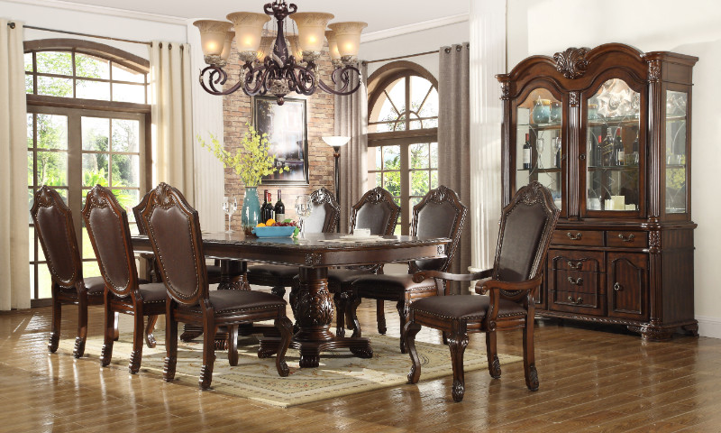 Mc Ferran D5004 7 pc Astoria grand engler dark finish wood double pedestal dining table set