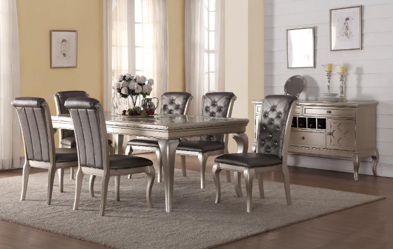 Mc Ferran MF-D508-7PC 7 pc City lights wila arlo rohan antique silver finish wood dining table set