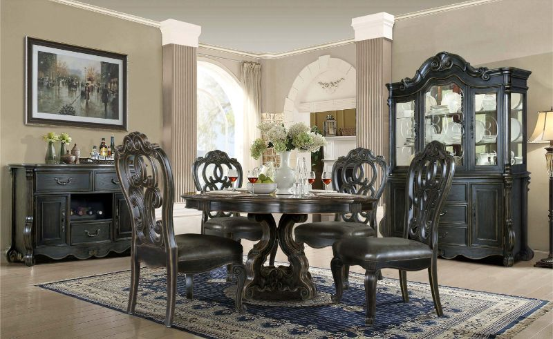 "Mc Ferran D525-6060 5 pc Astoria grand mcquaig dark brown two tone finish wood 60"" round dining table set carved back chairs"