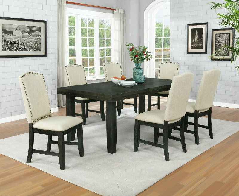 D67-7PC 7 pc Darby home co lona rustic dark oak finish wood dining table set with leaf