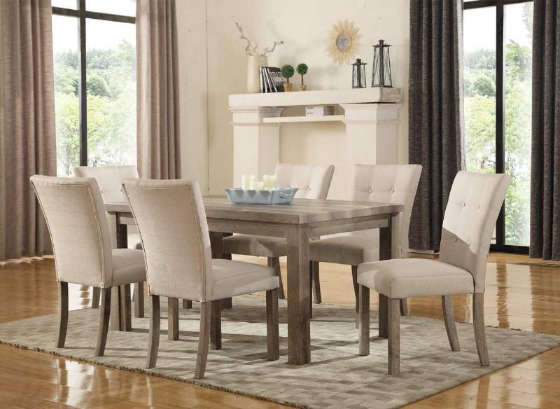 Mc Ferran MF-D708-7PC 7 pc Gracie oaks robb hand rub weathered grey finish wood dining table set