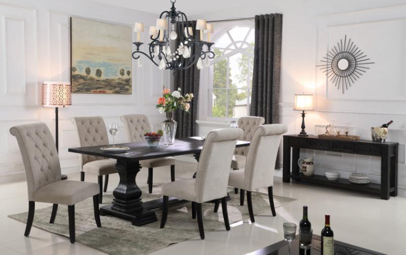 Mc Ferran MF-D7700-7PC 7 pc Gracie oaks parkins ramses black finish wood double pedestal dining table set