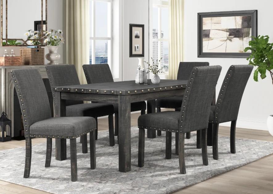 Mc Ferran MF-D806-7PC 7 pc Gracie oak mach weathered grey finish wood dining table set grey chairs