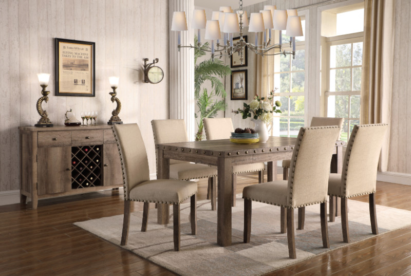 Mc Ferran MF-D808-7PC 7 pc Gracie oak mach hand rub weathered finish wood dining table set nail head trim