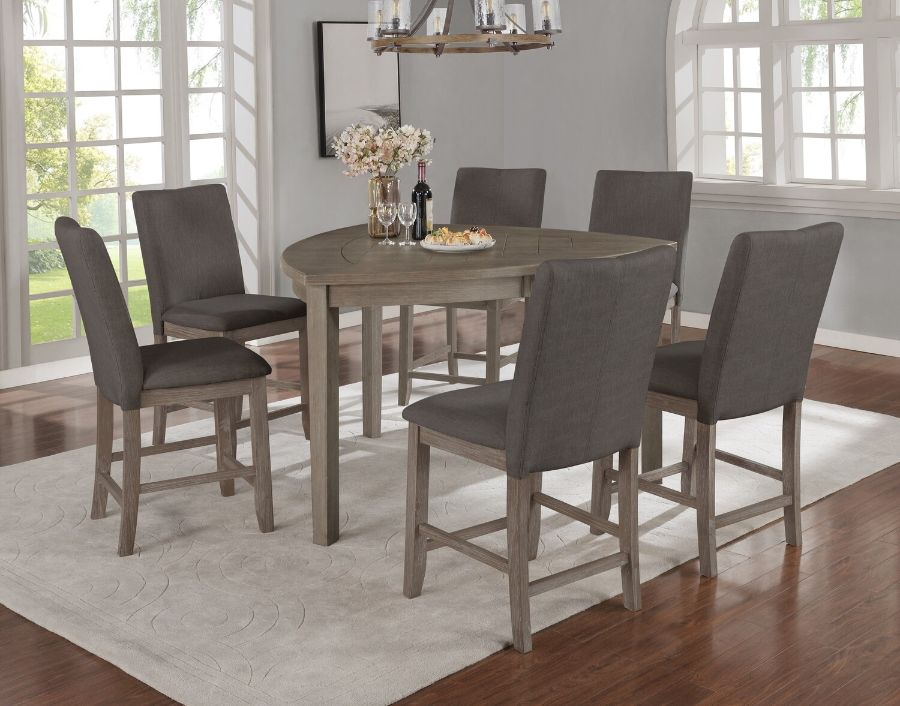 D875-7PC 7 pc Red barrel studio kolar hurley rustic grey finish wood triangular shaped counter height dining table set