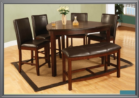 6 pc dark cherry finish wood rounded triangular shaped design counter height dining table set with plank look top and bench