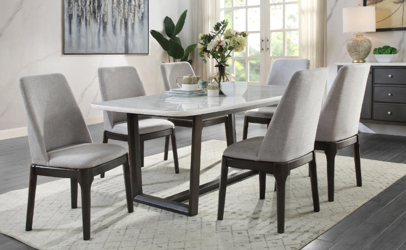 cme DN00059 7 pc Gracie oaks charnell weathered gray finish wood marble top dining table set