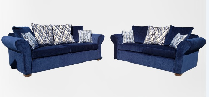 Dallas-blue 2 pc Red barrel studio dallas blue fabric sofa and love seat with rounded arms