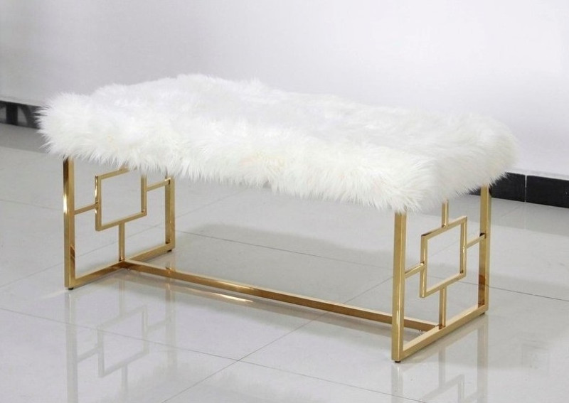 Best Master E05 Gold tone plated finish white faux fur bedroom entry bench