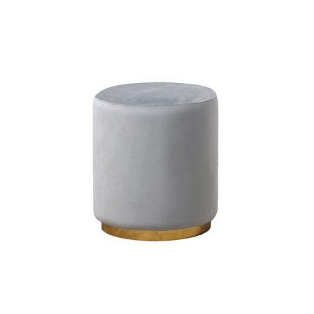 Best Master E35 Dalvik grey velour fabric round ottoman footstool with gold trim
