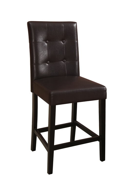 F1144 Set of 2 espresso finish wood and dark brown faux leather counter height bar chairs