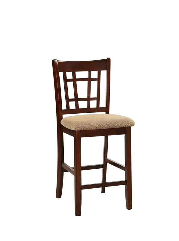 F1205 Set of 2 Drake collection dark rosy brown finish wood with padded seats counter height bar chairs