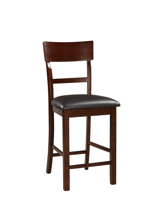 F1207 Set of 2 Drake collection dark rosy brown finish wood and faux leather padded seats counter height bar chairs