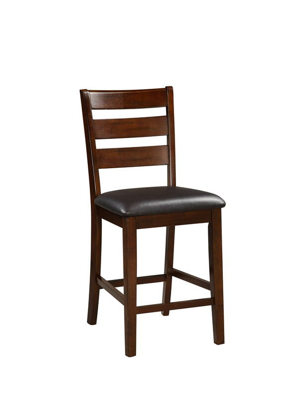 F1297 Set of 2 Drake collection antique walnut finish wood ladder back counter height bar chairs