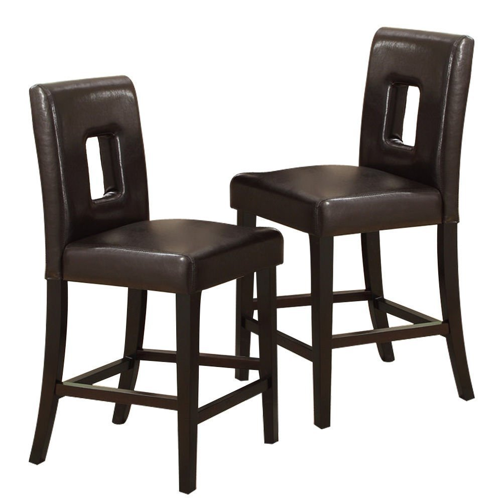 F1321 Set of 2 espresso finish wood and dark brown key hole back faux leather counter height bar chairs