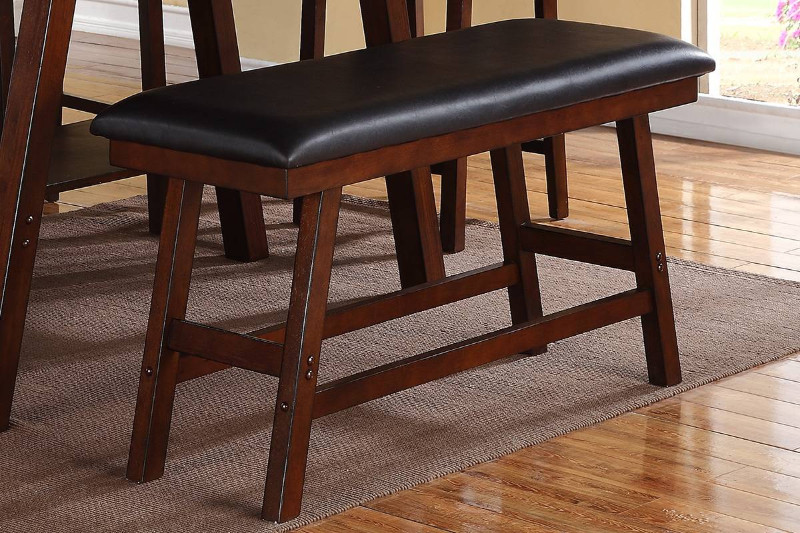 Poundex F1334 Montana dark walnut finish wood counter height dining table bench seat
