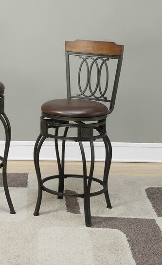 F1523 Set of 2 Calistoga collection wood top and ovals counter height swivel bar stools with padded seat