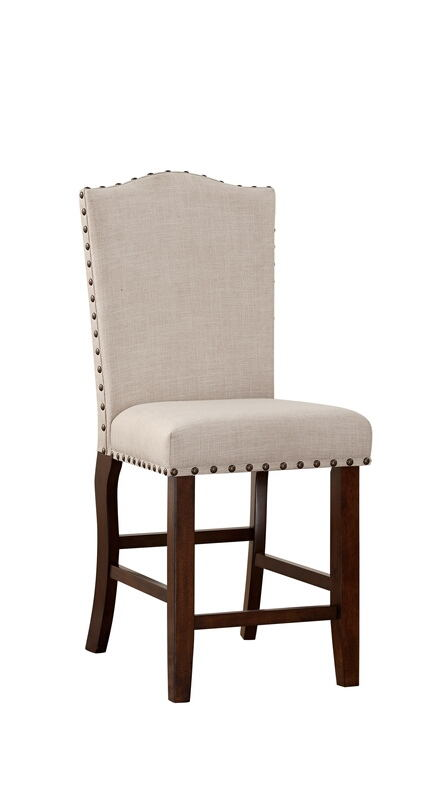 F1547 Set of 2 Drake collection rich mahogany finish wood with padded seats counter height bar chairs