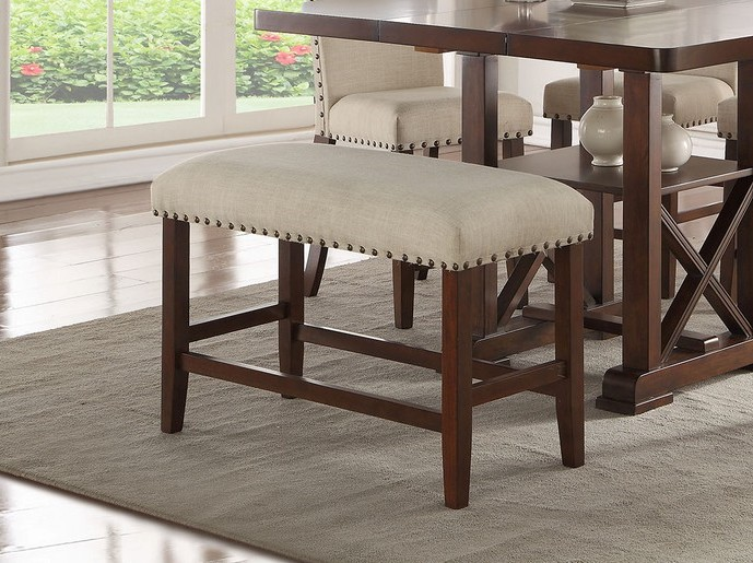 F1549 Bridget II collection dark cherry finish wood counter height dining bench with padded seats nail head trim accents