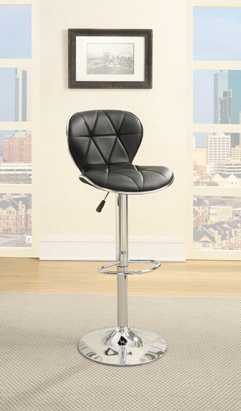 F1550 Set of 2 kossini collection contemporary style black diamond pattern faux leather adjustable swivel bar stool