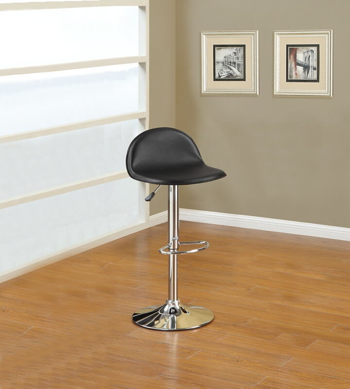 F1552 Set of 2 kossini collection contemporary style black faux leather adjustable swivel bar stool