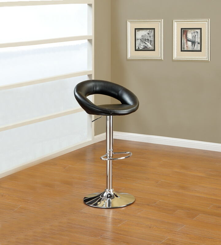 F1553 Set of 2 Kossini collection contemporary style black faux leather curved back adjustable swivel bar stool