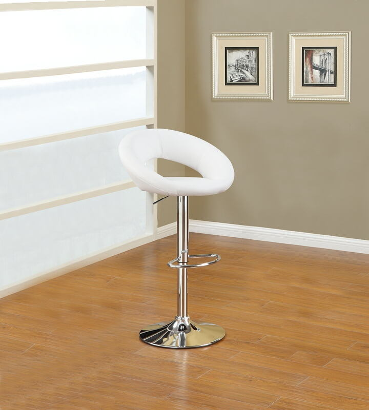 F1554 Set of 2 kossini collection contemporary style white faux leather curved back adjustable swivel bar stool