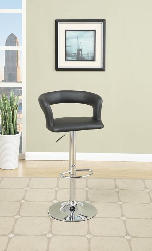 F1555 Set of 2 Kossini II collection contemporary style black faux leather curved back adjustable swivel bar stool
