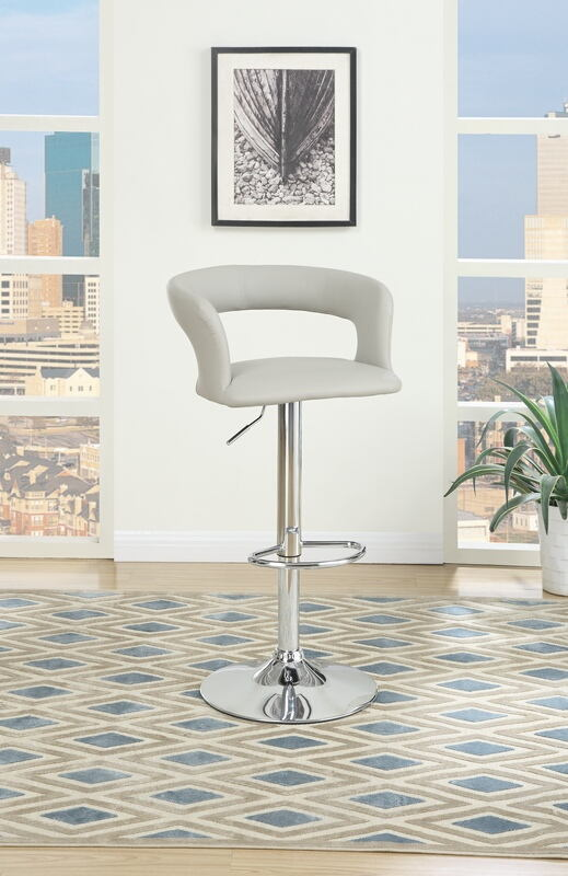 F15541 Set of 2 Kossini collection contemporary style grey faux leather curved back adjustable swivel bar stool