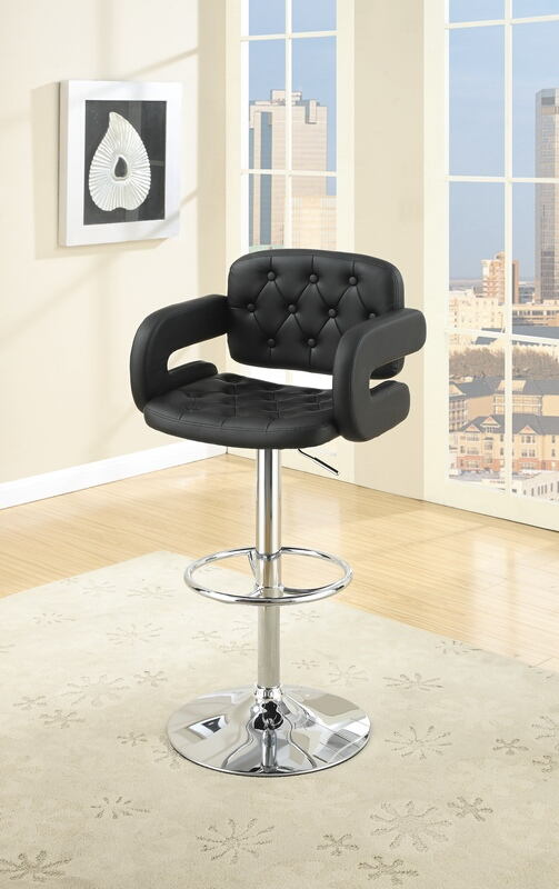 F1561 Set of 2 Kossini collection contemporary style black tufted back faux leather with arms adjustable swivel bar stool