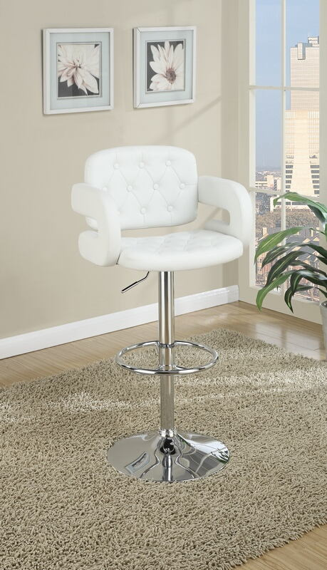 F1562 Set of 2 Kossini collection contemporary style white tufted back faux leather with arms adjustable swivel bar stool