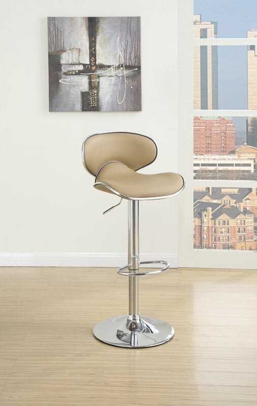 F1564 Set of 2 kossini collection contemporary style brown faux leather adjustable swivel bar stool