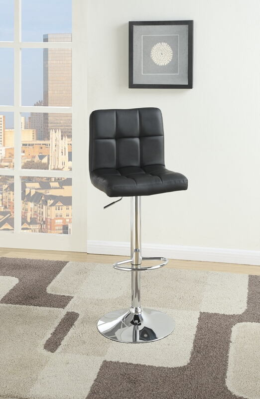 F1565 Set of 2 Kossini collection contemporary style black grid pattern faux leather adjustable swivel bar stool